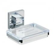 Wenko-Wenselaar GmbH & Co. KG WENKO Quadro Vaccum-Loc Seifenablage, Hochwertige Seifenschale aus glänzendem, rostfreiem Edelstahl, Glänzend/ Chrom/ Transparent