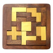 PEBBLE CRAFTS Handmade wooden square Jigsaw/Puzzle Board- Wooden Toy Game - Brain Teaser | Desk Decor | Wooden puzzles for kids