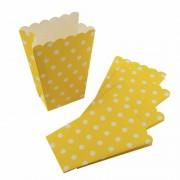 Geen Gele wegwerp popcornbakjes met witte stippen 8st