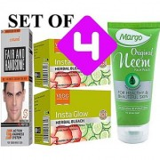 Combo Pack VLCC Herbal Bleach 2 + Fair and Handsome Cream+ Neem Face Wash (Set of 4)