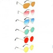 Well Shaded Round, Aviator Sunglasses(Red, Brown, Yellow, Blue, Green)