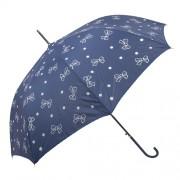 Clayre & Eef JZUM0018BL Esernyő 98x60cm kék-fehér pöttyös, masnis
