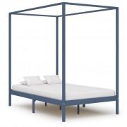vidaXL Рамка за легло с балдахин, сива, бор масив, 140х200 см