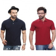 Kundan Sulz Gwalior's Exclusive for Men's 100% Pure-Cotton Polo Neck T-Shirt-Navy Blue & Maroon ( Pack of 2 T Shirt )