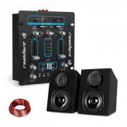 DJ-25 Misturador para DJ + Altifalante auna ST-2000 preto/azul