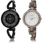 The Shopoholic Black Silver Combo New Stylist Latest Black And Silver Dial Analog Watch For Girls For Womens Watches