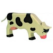 Fa játék állatok - tehén, fekete, legelésző