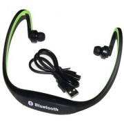 GO SHOPS Wireless Bluetooth On-ear Sports Headset Headphones (with Micro Sd Card Slot and FM Radio) COMPATIBLE with vivo V1 (GREEN)