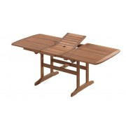 Bővíthető négyszögletes kerti asztal fából, 200x90