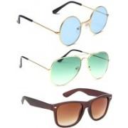Elligator Round, Aviator, Wayfarer Sunglasses(Blue, Green, Brown)
