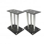 vidaXL Aluminum Speaker Stands Black Glass 2pcs