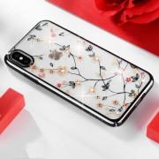 Apple SULADA bloem patroon Plating Diamond PC Case voor iPhone XS / X (zwart)