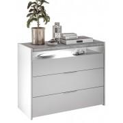 Pesaro Mobilia Commode Amalti 95 cm hoog in mat wit met grijs beton