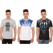 Raves Printed Men's Round Neck Multicolor T-Shirt (Pack Of 3)