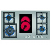 TEKA Placa de gas y vitrocerámica TEKA EFX 90 4G 1H AI AL DR CI (Eléctrica y Gas natural - 86 cm - Inox)