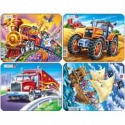 Set 4 Puzzle-uri Pirati Tractor Camion Tren 8 piese Larsen LRZ7 B39016809