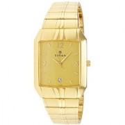 Titan Quartz Gold Rectangle Men Watch 9264YM02
