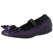 Clarks Girl's Dancevelvet Purple Leath Leather Mary Jane Flats - 3 UK