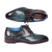 Paul Parkman Medallion Toe Derby Shoes Turquoise & Brown 6584-TRQ