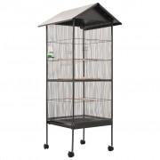 vidaXL Colivie de păsări cu acoperiș, gri, 66x66x155 cm, oțel