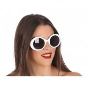 Fiesta carnavales Witte ronde verkleed zonnebril