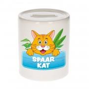 Kinder spaarpot met rode spaar kat opdruk - keramiek - katten spaarpotten