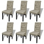 vidaXL Трапезни столове, 6 бр, бежови, текстил
