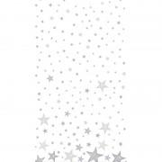 Duni Kerst thema tafellaken/tafelkleed wit/zilver sterren 138 x 220 c