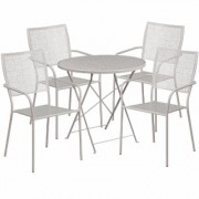 Flash Furniture 30Inch Round Metal Folding Patio Table Set with 4 Square Back Chairs - Light Gray, Model CO30RDF02CHR4SV