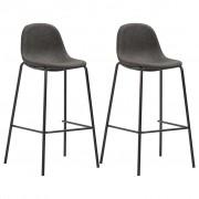 vidaXL Бар столове, 2 бр, тъмносиви, текстил