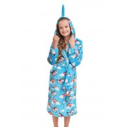 Lányka plüss fürdőköpeny egyszarvúval, kék 152