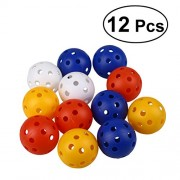 YeahiBaby 12PCS Perforated Plastic Play Balls Hollow Golf Practice Training Sports Balls (Mixed Colors)