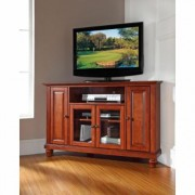 Crosley Cambridge 48 in. Cherry Wood Corner TV Stand Fits TVs Up to 52 in. with Storage Doors, Red