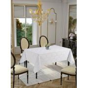 Față de masă Valentini Bianco 160 cm, Rotunda, Model Golden Laurel Alb