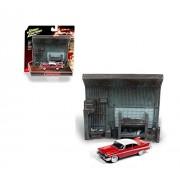 Johnny Lightning JLSP032-24 1: 64 Diorama - Christine - 1958 Plymouth Fury with Garage Resin Façade, Red