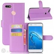 Кожен калъф тип портмоне с кръгло капаче за Huawei P9 lite mini - лилав