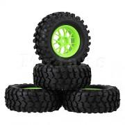 Generic Red : Mxfans 4 x RC1:10 Rubber Tires + Plastic Y Shape Spoke Wheel Rims fit Rock Crawler