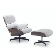 Replica Eames Lounge Chair + Ottoman - White Italian Leather Walnut Frame