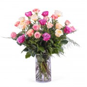 Interflora 24 Rosas Multicor de Pé Longo Interflora