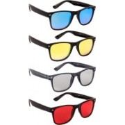 NuVew Wayfarer Sunglasses(Blue, Yellow, Grey, Red)
