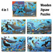4 Wooden Jigsaw Puzzles (28Pcs Per Puzzle) in a Wooden Box for Kids - Ages 3+ Years (SEA WORLD)