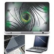 FineArts Laptop Skin Black Feather New With Screen Guard and Key Protector - Size 15.6 inch
