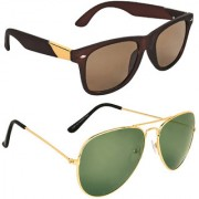 Zyaden Brown UV Protection Wayfarer Unisex Sunglasses Combo Of 2