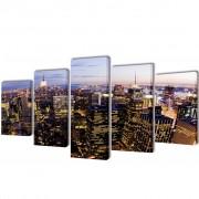 vidaXL Canvas Wall Print Set Birds Eye View of New York Skyline 100 x 50 cm