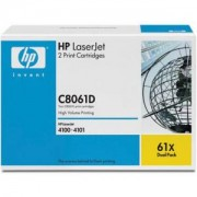 Тонер касета за HP LaserJet C8061X Dual Pack Black Print Cartridges for LJ 4100/mfp, up to 10,000 pages each (2xC8061X) - C8061D
