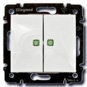 Переключатель двухклавишный с подсветкой Legrand Valena 10A белый