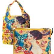 FRI.40517 Összezárható bevásárlótáska,nylon,Klimt:Lady with Fan,42x48cm,összehajtva 16x13cm