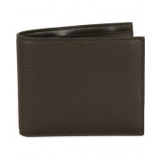 Canali Leather Credit Card Wallet Dark Brown