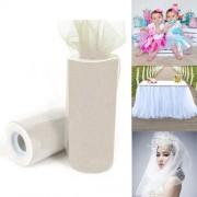 Fashion Tulle Roll 20D Polyester Wedding Birthday Decoration Decorative Crafts Supplies Size: 160cm x 25cm(Beige)