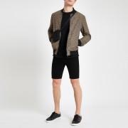 river island Mens Black skinny denim shorts (32)